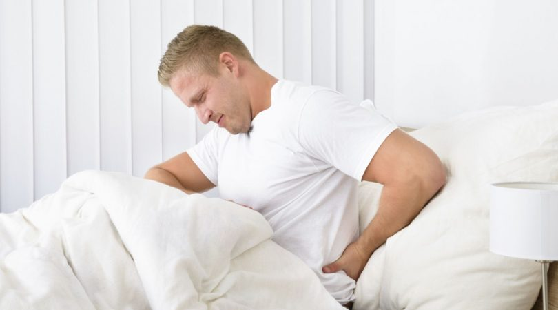 Pain in back and hip joint.